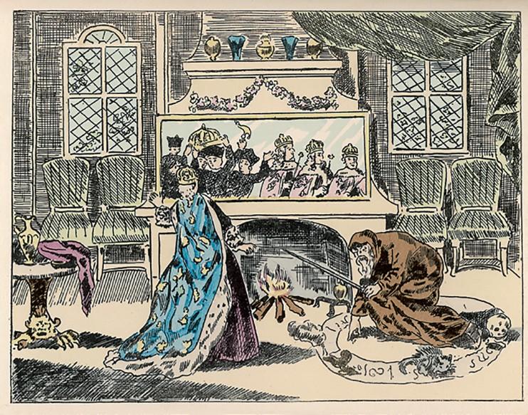 Екатерина Медичи приказывает Нострадамусу предсказать будущее французской королевской семьи.