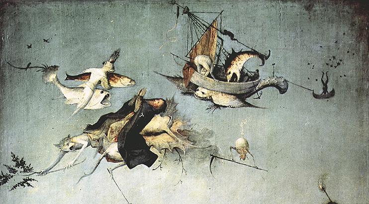 Иероним Босх. Алтарь св. Антония, триптих, центральная часть: Искушение св. Антония