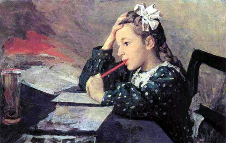 Ф. Решетников. Любины уроки. 1952