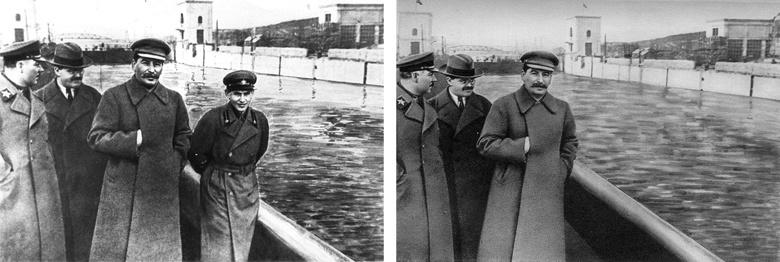 Сталин с главой НКВД Ежовым, который был расстрелян в 1940 году. После казни фото было отредактировано советскими цензорами