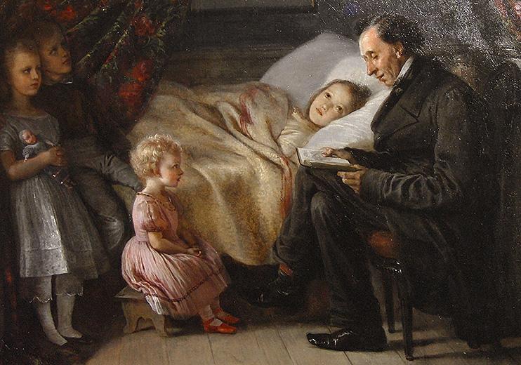 """Элизабет Джерихау-Бауманн, «Андерсен читает сказку """"Ангел? дочери художницы», 1862 г."""